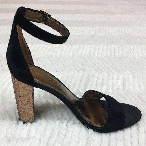a8ef883b480 Marc Fisher Factor2 Sandal Velvet Glitter Heel 7.5